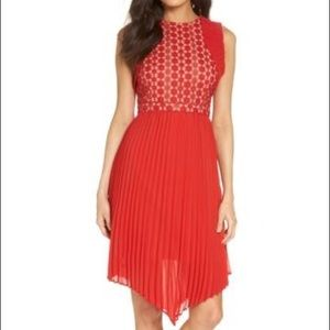 FOXIEDOX// red lace ruffle accordion skirt dress L